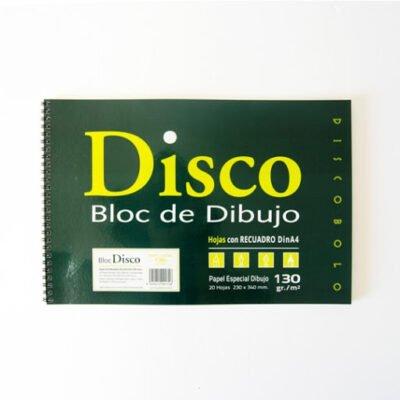 block dibujo disco con margen dinA4 130g