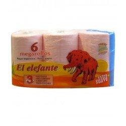 PACK 6 ROLLOS PAPEL HIGIÉNICO EL ELEFANTE 3 CAPAS (ROSA)