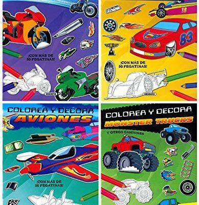 colorea y decora aviones,coches,motos